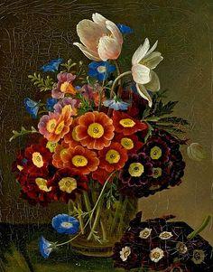stilllifequickheart:  William Hammer Still Life with Flowers in a Vase 1847