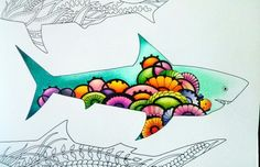 Lost Ocean colorful Shark  #lostocean #coloringbook #coloring #coloredshark #adultcoloringbook