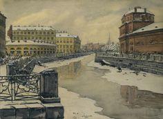 Остроумова-Лебедева - Петербург. Мойка. 1912 год.