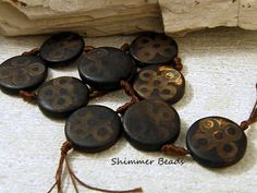 (2) Tibetan Agate Etched Oval Bead-Bohemian-Mystical Stone-Aged Beads 40/13mm #Unbranded #Focal