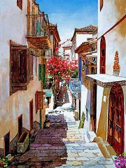 Zografos Gallery- gorgeous artwork of Nafplio, Greece Watercolor Landscape, Watercolor Paintings, Watercolors, Art Themes, Art Techniques, Cute Art, Abstract, Gallery, Drawings