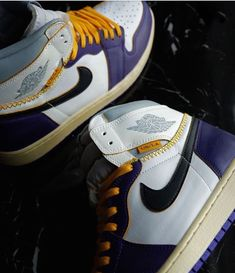 "Custom air Jordan 1 Union ""Lakers"" done by @bzy.kai #nike #airforce1 #nikeaf1 #nikes #sneakers #shoes #fashion #sneakerpaint #custom #customsneakers #sneakerart #art #fashion #losangeles #lakers #style #celebrity #streetwear #hypebeast #kobe visit www.customizerdepot.com for tutorial videos, products and more content"