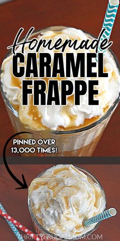 Learn how to make your homemade caramel frappe with this easy recipe! It's absolutely delicious and in my opinion is better than either McDonald's or Starbucks. Plus, this DIY version will cost you just a fraction of what you'd pay there! Such a fun treat! #thriftyfrugalmom #homemadefrappe #caramelfrappe #Starbuckscopycat #McDonaldscopycat Easy Drink Recipes, Easy Homemade Recipes, Quick Dinner Recipes, Tea Recipes, Coffee Recipes, Yummy Drinks, Brunch Recipes, Yummy Food, Starbucks Recipes