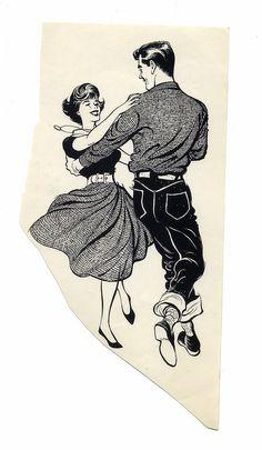 Learn to square dance! Mode Vintage, Vintage Comics, Vintage Art, 50s Dance, Swing Dancing, Line Dance, Dance Art, Rockabilly Couple, Dancing Drawings