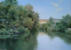 paysage avec bateau et hommes de Emilio Sanchez-Perrier (1855-1907, Spain)