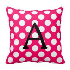 New inventory - pink polka dot throw pillows   Pink Polka Dot Throw Pillows | Pretty Throw Pillows www.prettythrowpillow.com #pink #polkadot #throwpillow #monogram
