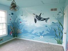 Nursery & Kid's Murals - Art By Alysia Kids Room Murals, Murals For Kids, Kids Room Paint, Bedroom Murals, Nursery Murals, Sea Murals, Ocean Mural, Underwater Bedroom, Underwater Painting