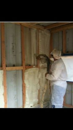 Spray on Foam for container insulation.