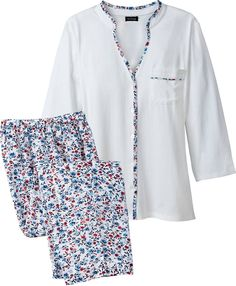 Floral Cotton Pajama Set: Our floral pajama set has a sumptuous knit top and smooth woven bottoms—both in cotton—so you get the full coverage you desire without overheating. Cotton Sleepwear, Cotton Pyjamas, Sleepwear Women, Night Pajama, Pajama Set, Night Suit, Night Gown, Pijamas Women, Plus Size Intimates