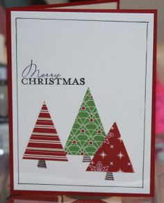 Stampin' Up! Super simple Christmas card. STAMPS: Contempo Christmas, Pumpkin Patch INK: Chocolate Chip PAPER: Very Vanilla, Cherry Cobbler, DSP (retired) EXTRAS: black fine-point marker, straight edge, scissors