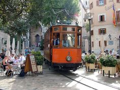 Puerto Soller tramway is 3' gauge and runs from Soller for five or so miles down to Puerto Soller in Mallorca. Some of the journey runs through the streets but there are also sections of reserved track.