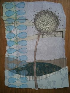Stitched collage work in progress Anne Brooke