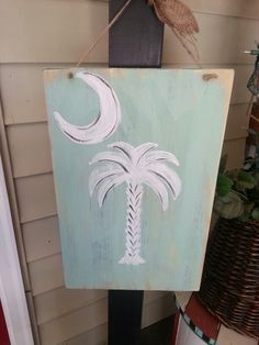 Palmetto tree Moon Painting, Sketch Painting, Painting On Wood, Watercolor Paintings, Palmetto Tree, Palmetto Moon, Rustic Signs, Wooden Signs, Backyard Beach