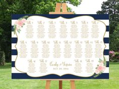 Wedding seating chart printable, navy striped guests list watercolor printable…