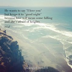 """He wants to say """"I love you"""" but keeps it to """"good night"""" because love will mean some falling and she's afraid of heights. #love #quotes #beautifulwords #torreypines #lajolla #sandiego #pineapplewonders"""