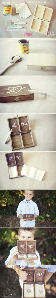 Make your own unique ring bearer box instead of a pillow - wedding DIY - wedding ceremony - wedding ideas Cute Wedding Ideas, Perfect Wedding, Diy Wedding, Wedding Events, Rustic Wedding, Dream Wedding, Wedding Day, Wedding Inspiration, Wedding Rings