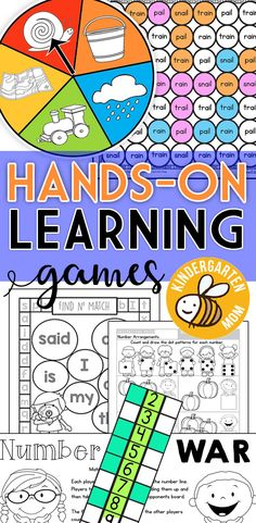 Free printable learning games for Kindergarten. Hands-On Learning games for Kindergarten!  These games are just right for learning key kindergarten math and reading skills. https://kindergartenmom.com/printable-learning-games-activities/?utm_campaign=coschedule&utm_source=pinterest&utm_medium=Preschool%20Kindergarten%20Mom&utm_content=Printable%20Learning%20Games%20and%20Activities