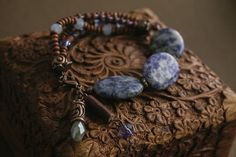 Warm Blue bracelet with wood and stone beads
