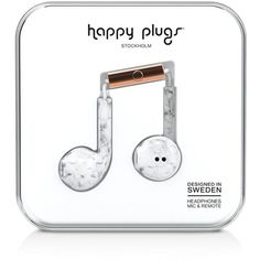 Happy Plugs Earbud Plus Marble Print In-Ear Headphones ($30) ❤ liked on Polyvore featuring accessories, tech accessories, white marble, happy plugs headphones, ear bud headphone, earphones earbuds, white earbuds and white headphones