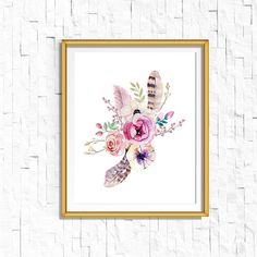 This listing is for a darling watercolor floral printable. This would look great in any area of your home, as well as a nursery. ____________________________________________________________________________________  NOTE: THIS LISTING IS A DOWNLOAD DIGITAL FINE ONLY. NO PHYSICAL PRODUCTS WILL BE SHIPPED TO YOU. The frame in the listing photo is for display purposes only. You will only receive the print…