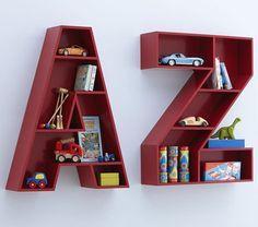 16 Successful Letters Bookcase Design for Kids Rooms - Kinderzimmer Wood Shelves, Floating Shelves, Shelving, Wooden Bookcase, Ladder Bookcase, Display Shelves, Kids Furniture, Furniture Design, Bedroom Furniture