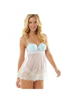 84f88425dda What a pretty little lace babydoll! Lace and Mesh 2 piece Babydoll with G-string  Panty set. Color contrast cups, straps and ribbon trim Hook eye back ...