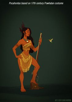 Pocahontas Disney Princess' dresses in accurate period styles - by Claire Hummel