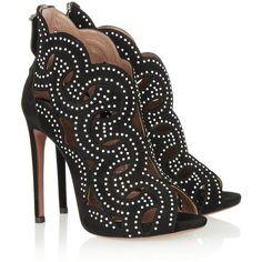 Alaïa Cutout studded suede sandals ($785) ❤ liked on Polyvore featuring shoes, sandals, heels, alaia, sapato, scarpe, black heeled sandals, black platform sandals, heeled sandals and black white sandals