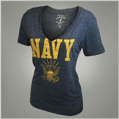 League Navy Women's My Fav V-Neck T-Shirt