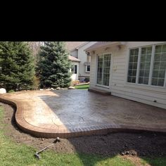 Idea for when we redo the back patio Outdoor Kitchen Patio, Outdoor Life, Backyard Patio, Backyard Landscaping, Outdoor Spaces, Outdoor Living, Outdoor Decor, Stamped Concrete, Concrete Stamping