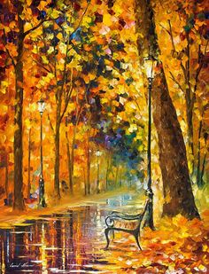 """Lonely Bench — PALETTE KNIFE Oil Painting On Canvas By Leonid Afremov - Size: 24"""" x 30"""" (60cm x 75cm)"""