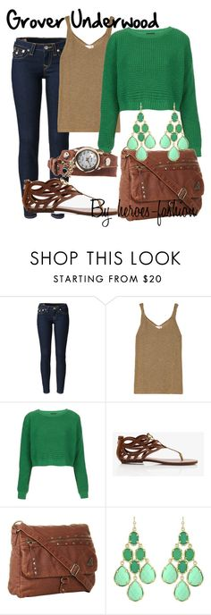 """Grover Underwood: Lord of the Wild"" by heroes-fashion ❤ liked on Polyvore featuring True Religion, LnA, Topshop, Forever 21, Roxy, Kendra Scott and La Mer"