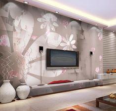 Tapete in Pastellfarben mit Blumenmotiven für die Wohnzimmerwand