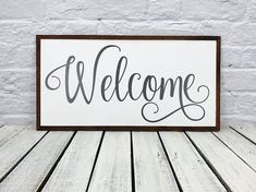 welcome sign, farmhouse decor, farmhouse sign, wood sign, housewarming gift, wooden sign, family name sign, rustic sign, wedding gift #mkd #mkdstory #framedsign #welcome
