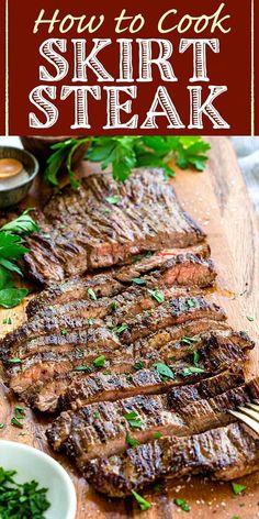 Skirt Steak In Oven, Skirt Steak Recipe Oven, Skirt Steak Tacos, Grilled Skirt Steak, Skirt Steak Recipes, Marinade For Skirt Steak, Skirt Steak In Crockpot, Thin Steak Recipes, Hanger Steak