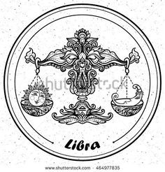 Detailed Libra in aztec filigree line art zentangle style. Tattoo, coloring  page for adult. T-shirt design. Zodiac Libra tribal, decorative wool  pattern.