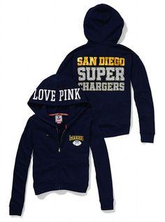 San Diego Chargers Bling Slouchy Zip Hoodie - Victoria s Secret PINK® - Victoria s  Secret Chargers 2ac799ee6