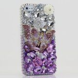 iphone 5 5S Luxury 3D Swarovski Crystal Diamond Butterfly Silver faded to Purple Design Bling Case Cover (100% Handcrafted by BlingAngels)