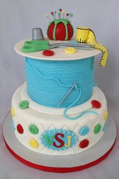 Sewing and Quilt Themed Birthday Cake
