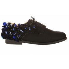 Anouki Black Brogues With Dark Blue Embellishment (12 275 UAH) ❤ liked on Polyvore featuring shoes, oxfords, sparkly shoes, black shoes, black sparkle shoes, beaded shoes and black canvas shoes