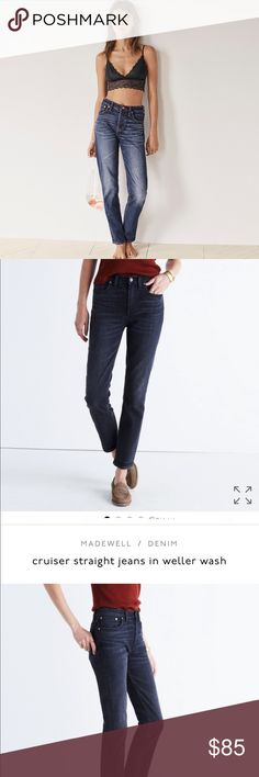 """NWT Madewell 10"""" high rise BLACK cruiser straight """"Weller wash"""" (washed black) cover photo is to show the style/fit... A true cool-girl fit, our new straight-leg jeans have the look of a just-right vintage find (i.e., they look particularly great from behind). Made of best-of-the-best denim, this pair is the perfect length to flash ankle boots or sneakers. A perfectly worn-in black wash with subtle wear patterns. Antique silver hardware, tonal stitching. Sit above hip, fitted through hip and…"""