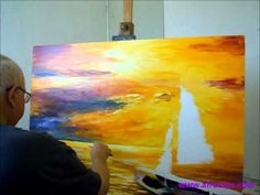 Leonid Afremov Painting a New Painting of Seascape with oil and Palette Knife.