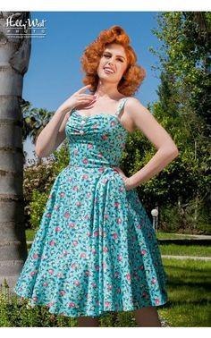 Nancy dress in Blue Lemonade print - Pinup Girl Clothing, NWT, Large