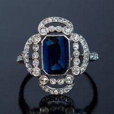 Art Deco Sapphire Diamond Platinum Openwork by RomanovRussiacom