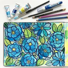 Messy watercolour sketchbook flowers created with the contents of this month's Scrawlrbox! Kate Hadfield sketchbook