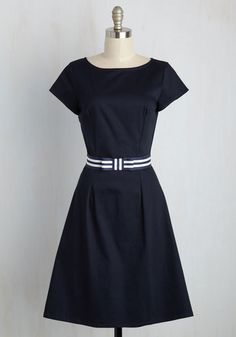 Intern a Corner Dress - Long, Work, Nautical, Vintage Inspired, 50s, Minimal, Summer, Fall