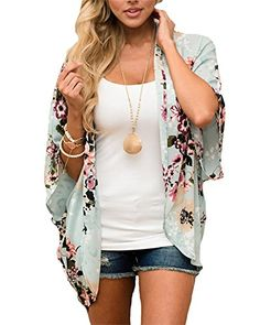Responsible Womens Chiffon Long Sleeves Semi Sheer Bikini Cover Up Four Colors Patchwork Vertical Stripes Oversized Kimono Cardigan Side Aromatic Flavor Women's Clothing