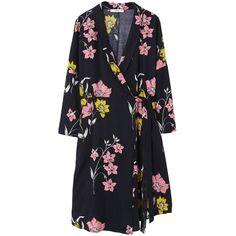 MANGO Floral wrap dress (€49) ❤ liked on Polyvore featuring dresses, vestidos, wrap dress, long sleeve floral dress, floral print long sleeve dress, floral day dress and v neck dress