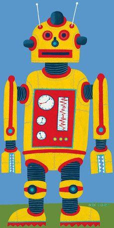 Yellow Robot Canvas Art