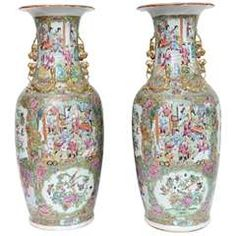"""Pair Chinese Porcelain Famille Rose Vases, 24""""h, 19th century"""